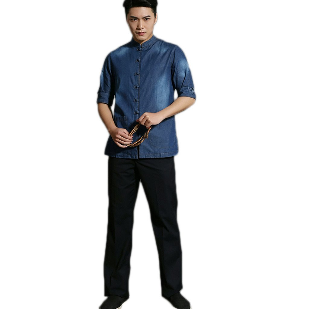 Business Shirts Men's shirt Tang Costume Tang Suit Retra Shirt Chinese National Style Flax Cotton-flax by LUOLAN-Tang Sui