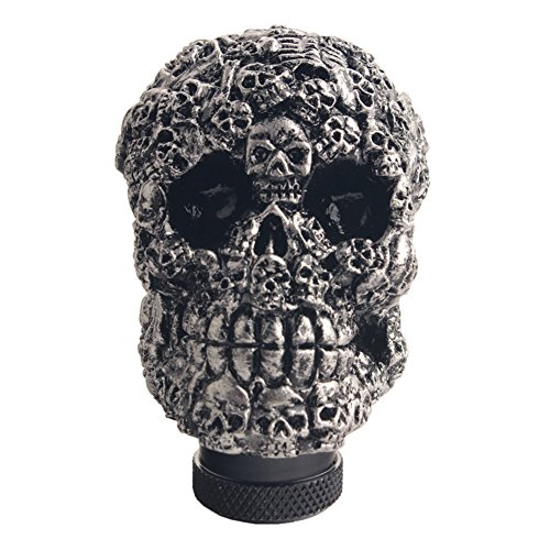 Dewhel Skull Head Custom Shift Knob Universal Car Truck Manual Stick Gear Shift Knob Lever Shifter Screw On For Honda Acura Toyota Hyundai Mitsubishi Nissan Mazda Scion Infiniti Lexus etc Black ()