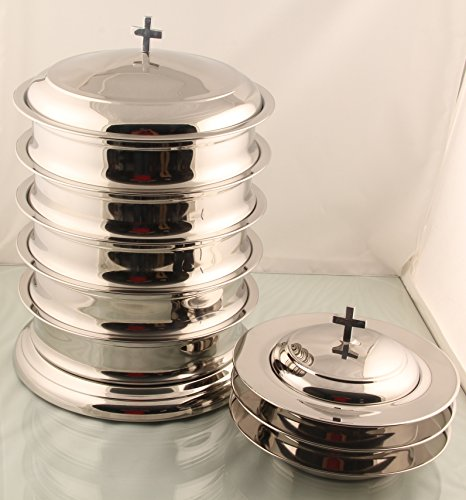 Communion Base - 5 Communion tray set with base and lid 3 bread plate with lid -Mirror Finish