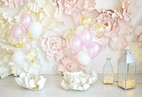 Leowefowa Girls Birthday Party Decorations Interior Backdrop 6.5x5ft Vinyl Photography Backgroud Pink White Blooming Flowers Colored Balloons Old Lanterns with Firefly Children Holiday -