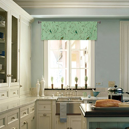 H.Versailtex Energy Efficient Kitchen/Bath Room Ultra Soft Curtain/Window Valances with Rod Pocket Top-51'x16',(Set of 1)-Turquoise Birds with Sage Base Pattern