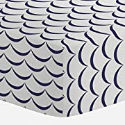 Carousel Designs White and Navy Waves Crib Sheet - Organic 100% Cotton Fitted Crib Sheet - Made in the USA