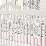 Carousel Designs Pink and Gray Woodland Crib Bumper