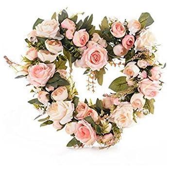 Amazon adeeing vintage art simulation rose flowers wreath pink adeeing vintage art simulation rose flowers wreath pink heart shaped garland for home wedding decoration mightylinksfo