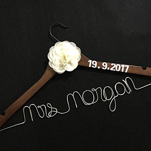 Personalized Wedding Hanger, Single Line Bride Name Hanger, Personalized Custom Bridal Hanger, Personalized Brides Hanger, Custom Made Wedding Dress Hanger