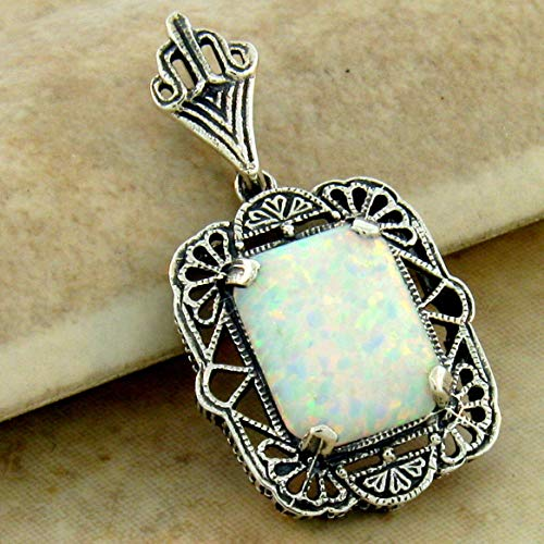 (Antique Style 925 Sterling Silver LAB Opal Filigree Pendant KN-1015)