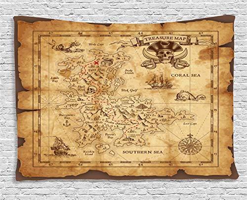 Ambesonne Island Map Tapestry, Super Detailed Treasure Map Grungy Rustic Pirates Gold Secret Sea History Theme, Wall Hanging for Bedroom Living Room Dorm, 60 W X 40 L Inches, Brown Beige