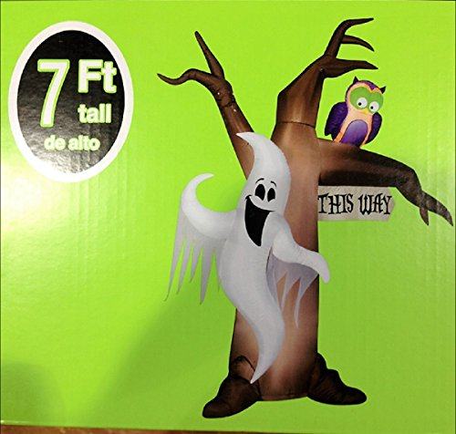HALLOWEEN INFLATABLE 7' GHOSTLY TREE W/ OWL