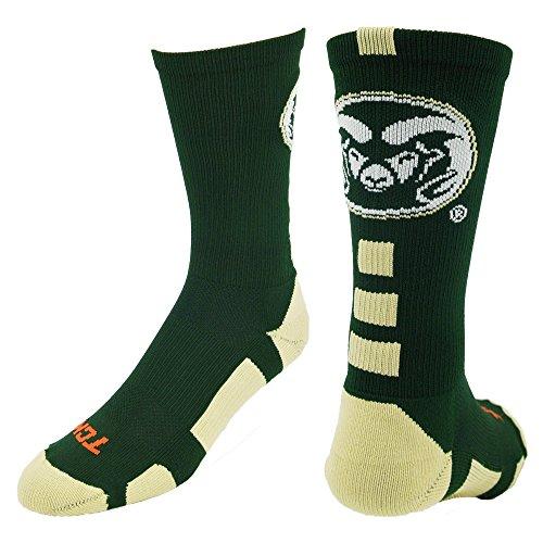 確かな試みる国民(Medium, Dark Green/Vegas Gold/White) - TCK CSU Rams Baseline Crew Socks
