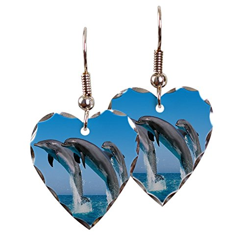 - Earring Heart Charm Dolphins Dancing