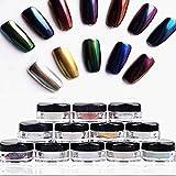 Hometom 12 Colors Nail Glitter Powder Shinning Nail Mirror Powder Makeup Art DIY Chrome (Multicolor)