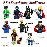 batman figure set - Super Heroes Figures, 9 Set Super Heroes Marvel & DC Avengers Mini Figures include Batman, Spiderman, Ironman, Thor, Superman, Wolverine, Captain America, Hawkeye, and The Hulk. Mini Figures Toys