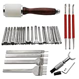 AMPSEVEN 20pcs Leather Carving Working Saddle Making Tools Set Hammer Swivel Knife Leather Craft Modelling Pen 4mm 1/2/4/6 Leather Prong Kit