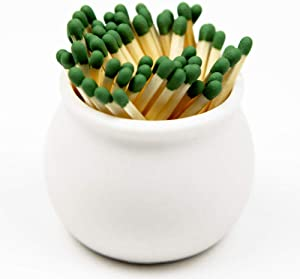V JANE DESIGN Ceramic Match Striker, Matchstick Holder with Striker Included. Cute Matches for Fireplace Match Holder or Bathroom Match Striker Storage jar. Farmhouse Bathroom Decor Designed in USA.