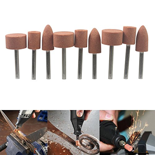 - Carving Expert 9pcs Abrasive Mounted Stone For Dremel Rotary Tools Grinding Stone Wheel Head Dremel Accessories 1/8 Inch Shank
