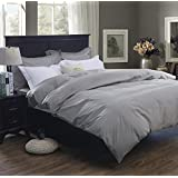 Colourful Snail 400-Thread-Count 100-Percent Cotton Duvet Cover Set, Includes Duvet Cover and 2 Matching Pillow Shams, Queen/Full, Grey