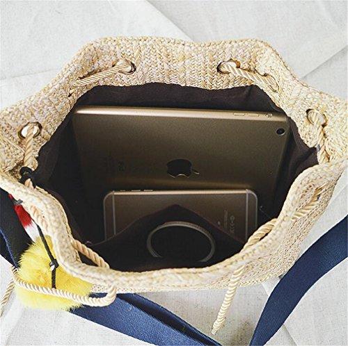 ELEGENCE Bucket Straw And America Bag Europe Slung Woven Z Beach Shoulder Bag Literary Purpose Bual Handbags pTrwqp