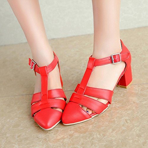 Buckle Closed TAOFFEN Shoes Toe Red Women Summer xqwHXZS