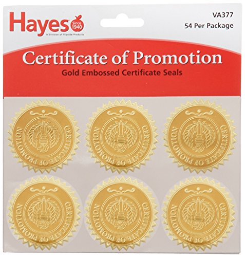 Hammond & Stephens VA377 Certificate of Promotion Gold Foil Embossed Seal, 1-13/16