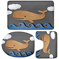 3 Piece Bath Mat Rug Set,Whale-Decor,Bathroom Non-Slip Floor Mat,Wooden-Paper-like-Designed-Whale-on-Air-with-Paper-Based-Whale-Image,Pedestal Rug + Lid Toilet Cover + Bath Mat,Grey-Blue-and-Brown