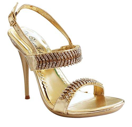 Weston-12 Slingback Bling Rhinestone Stiletto high Heel Dress Party Shoes Gold FfLQl9