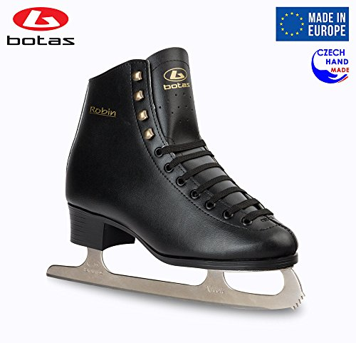 Botas model: ROBIN/Made in Europe (Czech Republic)/Comfortable Figure Ice Skates for Men, Boys/Color Black, Size: Adult 11 Black Mens Ice Skates