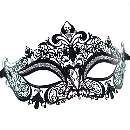 [Sparkly Clear Crystal Crown Masquerade Mask for womens(Black with Clear Stones)] (Bond Villains Costumes)