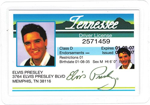 Elvis Presley Tennessee Replica Drivers License [3.75