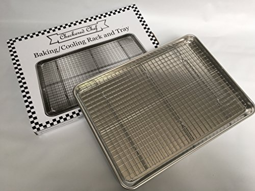 "Checkered chef baking sheet and rack set - aluminum cookie sheet tray/half sheet pan for baking with stainless steel… 7 you asked, we've delivered! Our most popular, best-selling cooling rack now comes in a set with a half sheet pan to make this baking sheet set. Team them together for oven baked bacon and crispy chicken wings, or use separately to bake and cool cookies and cakes. The baking rack: 100% stainless steel with no artificial coatings or treatments, perfect for oven use. Our unique strengthening crossbar prevents twisting and warping and quickly made the checkered chef cooling rack one of the best selling racks on amazon. Achieving perfect scores for both ""cleanup"" and ""strength and stability"" in recent professional product testing, the checkered chef cooling rack is proud to be ""highly recommended"" by cook's country (america's test kitchen). The pan: sick of burnt bottoms on your baked goods? The sturdy, aluminum construction of the checkered chef half sheet pan gives it superior heat conductivity resulting in even baking with no burnt bottoms. No sharp edges on this bakers sheet pan! The reinforced, rolled edge is smooth and safe and provides extra strength to help prevent this heavy duty baking sheet from warping."