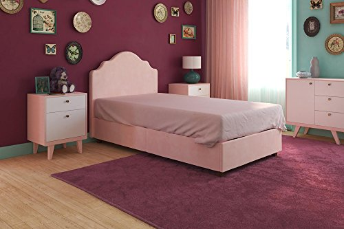 Image of the DHP Savannah Upholstered Platform Bed with Wooden Slat Support, Curved Headboard Design, Twin Size - Pink