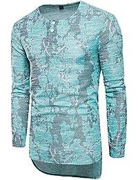 Men Stylish Crewneck Buttons Asymmetric Print Long Sleeve T-Shirts