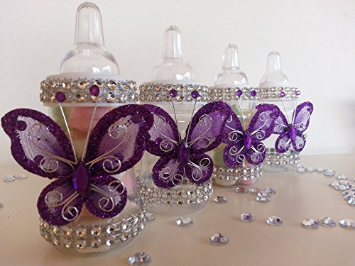 12 Purple Fillable Butterfly Bottles Baby Shower Favors Prizes Girl ()