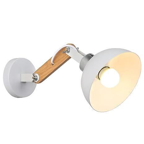 Splink Moderno Lámpara de pared Fundido y madera E27 Ajustable Hierro Lámpara de pared de montaje