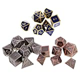 SunniMix 21Pcs Alloy Dice Set D4-D20 Dies Polyhedral for MTG RPG Party Board Game Toy