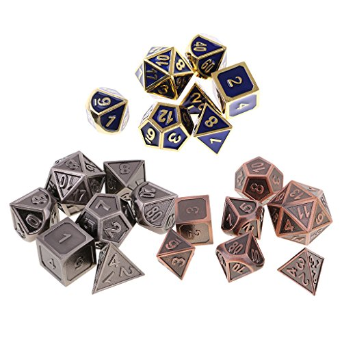SunniMix 21Pcs Alloy Dice Set D4-D20 Dies Polyhedral for MTG RPG Party Board Game Toy by SunniMix