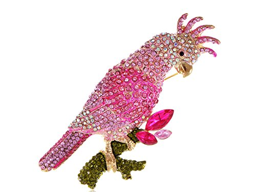 Alilang Womens Golden Tone Pink Rhinestones Tropical Parrot Cockatoo Bird Brooch (Tropical Cockatoo)
