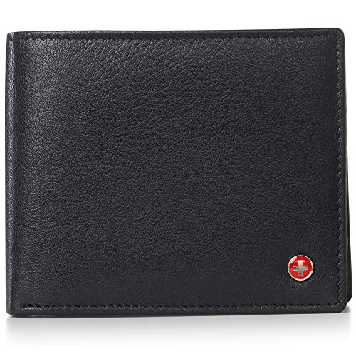 Alpine Swiss RFID Mens Leather Wallet Deluxe Capacity Coin Pocket Bifold With Divided Bill Section Black