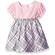 Youngland Baby Girls' Lace Bodice Sparkle Plaid Dress, Pink/Grey, 6-9 Months