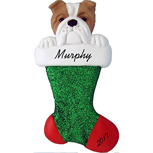 Bulldog Christmas Stocking - Dog in Stocking Personalized Christmas Ornament (Bulldog) - Handpainted Resin - 4