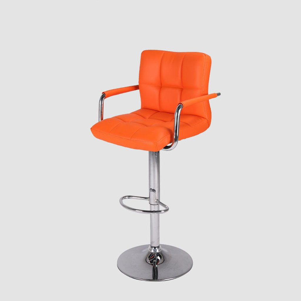 バースツール、PU背もたれバースツール、スイベルトールキッチン朝食椅子、高さ(60-80Cm)グリーン ( Color : Orange ) B07CM72ZDNOrange