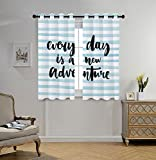 Stylish Window Curtains,Adventure,Every Day is a New Adventure Quote Inspirational Things About Life Artwork,Baby Blue Black,2 Panel Set Window Drapes,for Living Room Bedroom Kitchen Cafe