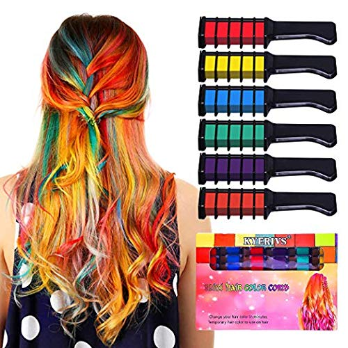 Hair Chalk for Girls, Temporary Hair Dye Marker for Kids Washable Pen Dark or Blond Hair Birthday Gift Idea Teens Girls Hair Accessories(6 Pack) Owmoon