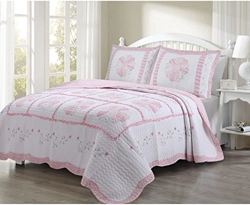 3 Piece Embroidered Daisies Printed Pattern Quilt Set Queen Size, Featuring Reversible Stripe Patchwork Floral Design Comfortable Bedding, Stylish Chic Nature Girls Inspired Bedroom Decor, Pink, White by SE