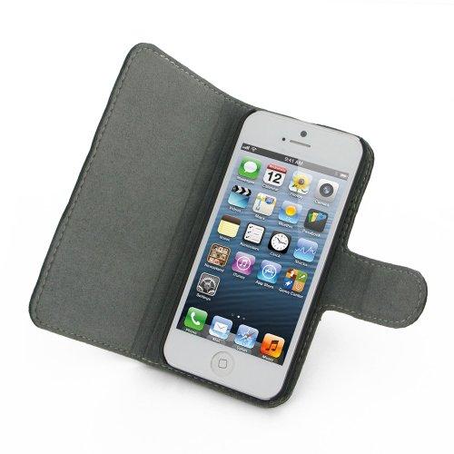 PDair Handgefertigtes Lederetui Buch Case Tasche Hülle Etui für Apple iPhone 5, 5s Schwarz