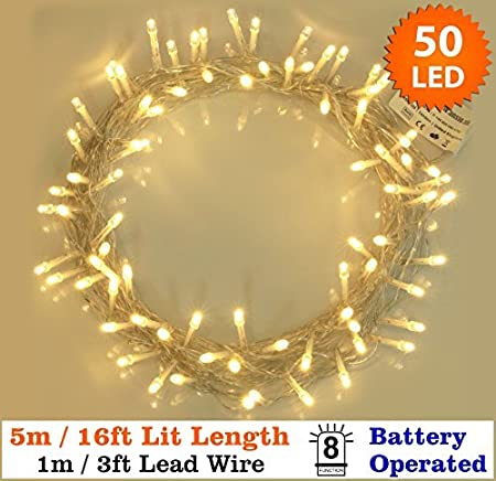 Fairy Lights 50 Warm White Christmas Tree Lights Indoor U0026 Outdoor LED  String Lights   Battery
