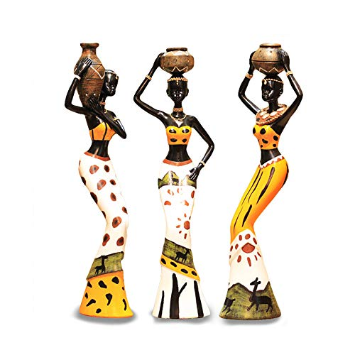 Mary Paxton 3 Pack African Sculpture,Women Figure Girls Tribal Lady Figurine Statue Decor Collectible Art Piece Human Decorative Home Black Figurines Creative Vintage Gift Crafts Dolls Ornaments (Home Decoration For Statue)