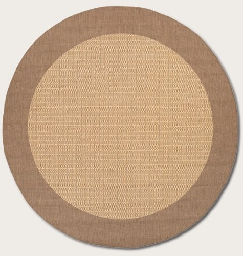 Couristan 1005/3000 Recife Checkered Field Natural/Cocoa Rug, 8-Feet 6-Inch Round