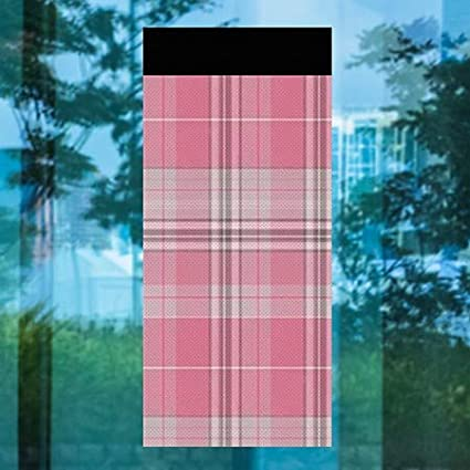 Inner CirclePlaid -Pink Perforated Window Decal   36x80 CGSignLab 5-Pack