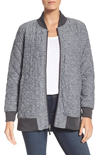The North Face Women's Mod Bomber Insulated Knit Jacket (Dark Grey, X-Small)