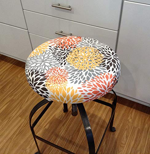 Cover Chili Peppers - Round bar stool cover, BLOOMS CHILI PEPPER r washable floral cotton slub fabric, with or without foam insert. Made in the USA. Stool slipcover. Round cover 12